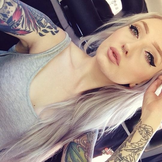 Blonde tattoo pierced fake