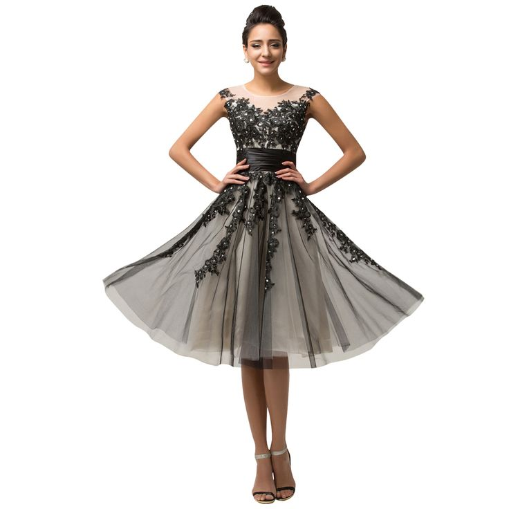 champagne Short lace and black dress with