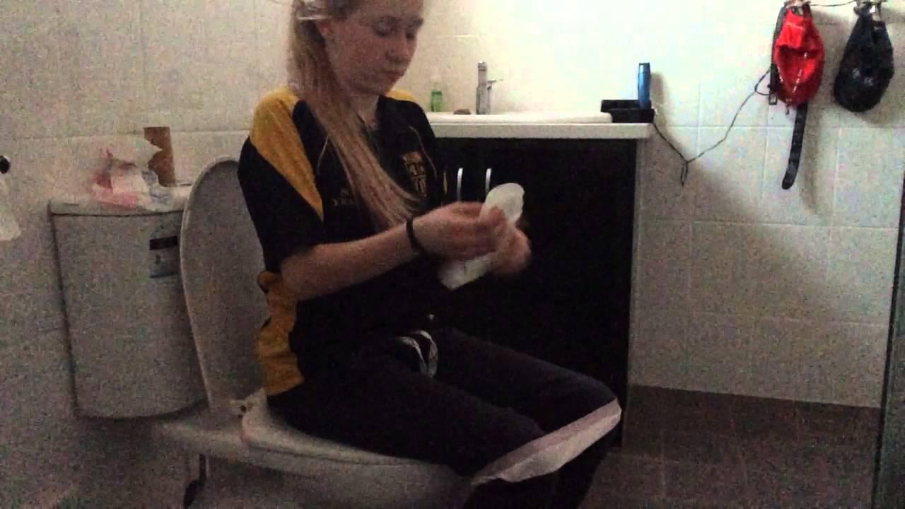 Teen girls wearing pads