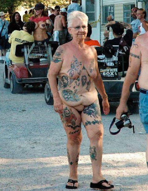 Crazy old lady naked