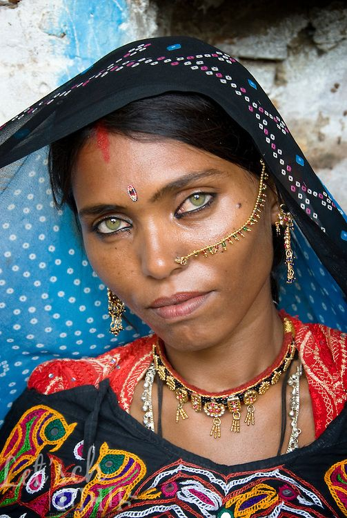 Beautiful indian woman with green eyes