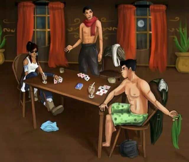 Teen couples playing strip poker