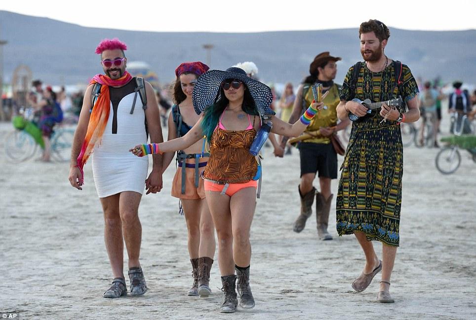 Naked at burning man festival