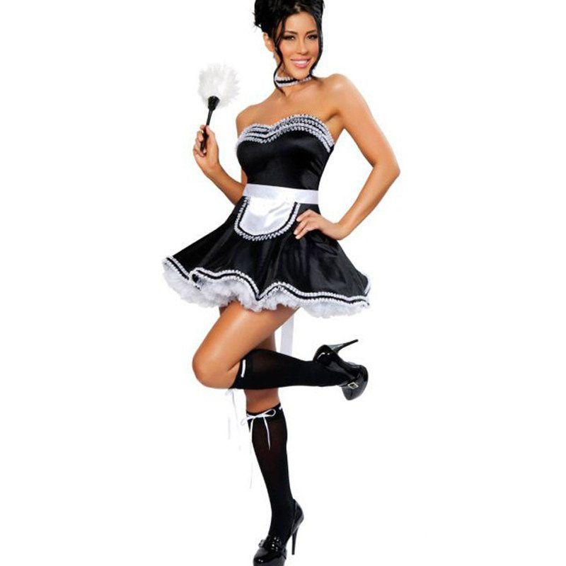 Sexy ebony black maid