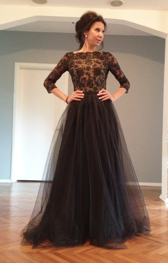 dress Long with evening sleeves black
