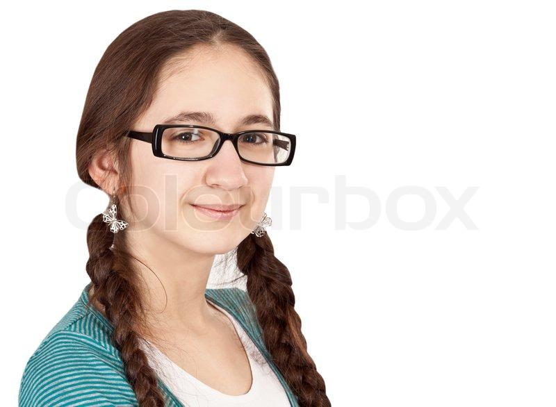 Teen girl glasses facial