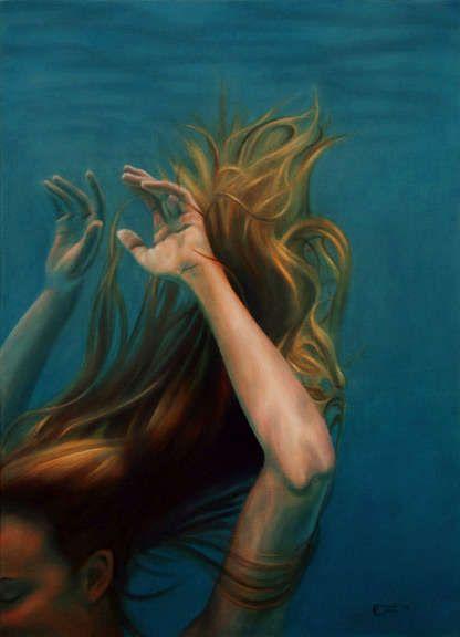Mermaid girl nude underwater