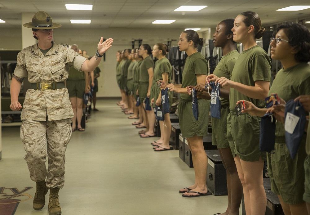 Nude female soldier uniform