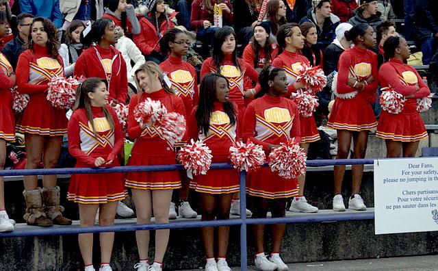 College cheerleaders candid