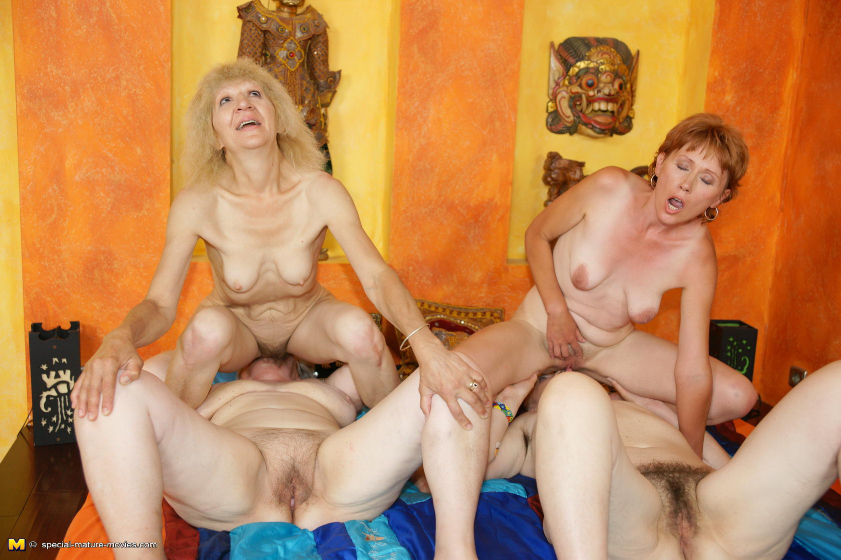 Nude mature lesbian group sex party