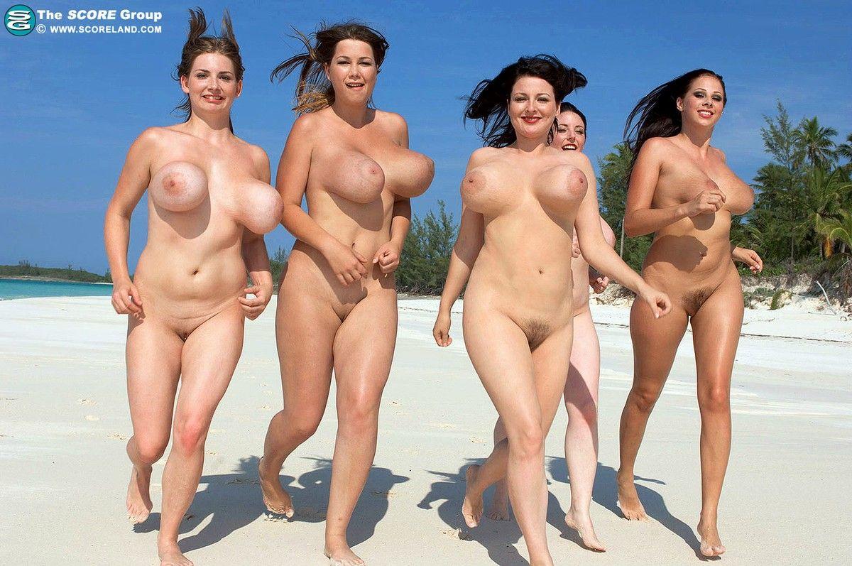 Big tits running naked