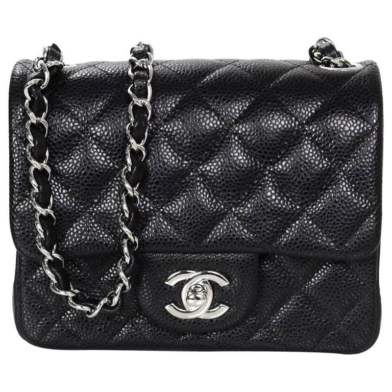 Chanel black caviar leather