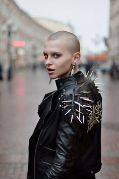 Punk rock girls shaved heads