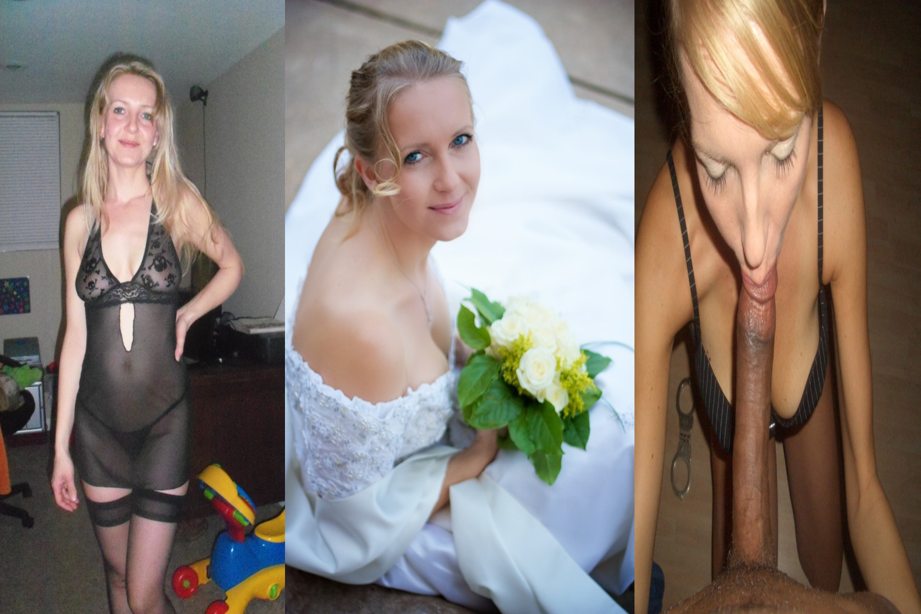Wife dressed undressed before and after