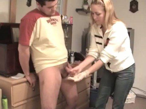 Wife gives husband handjob