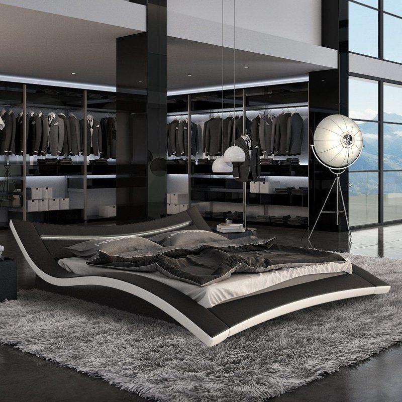 bed size Black king modern platform
