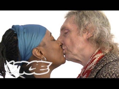 Black woman white man kiss during sex