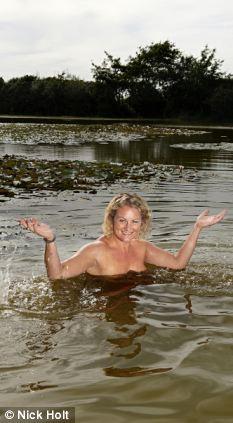 Nude girl skinny dipping river