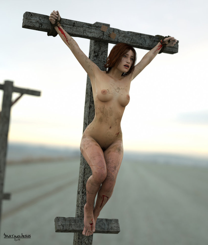 Naked women crucified on cross