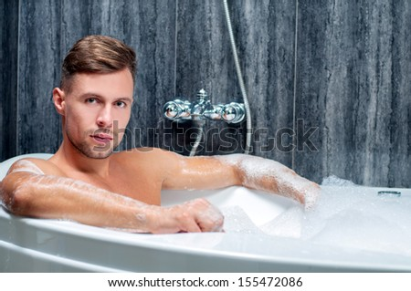 Mature guy with bath