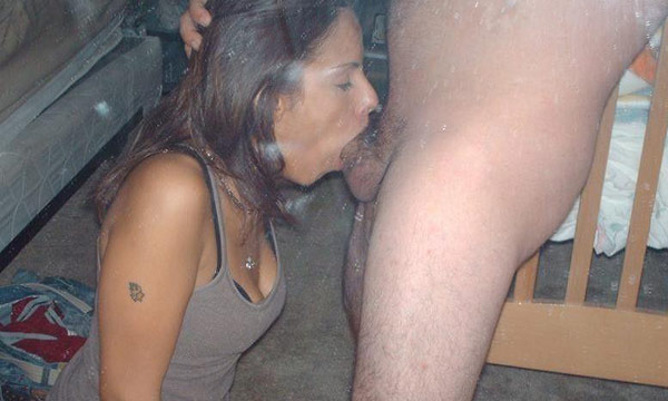 Kneeling blowjob and facial
