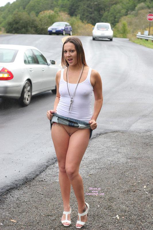 no Girl skirt panties spread pussy