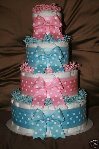 Boy and girl twin diaper cake