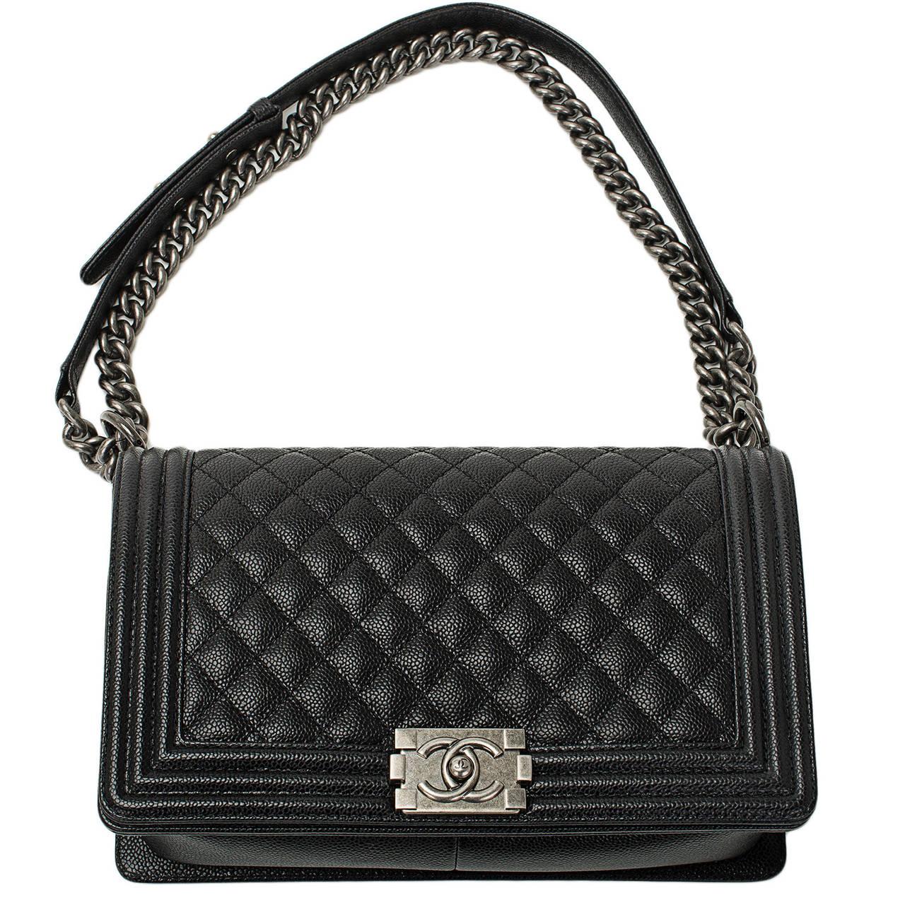 black leather Chanel caviar