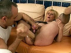 Chubby mature with big dildo