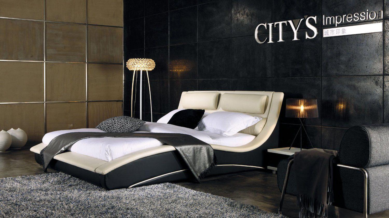 Black modern king size platform bed