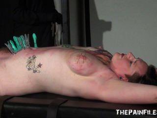 Extreme nipple stretching bondage