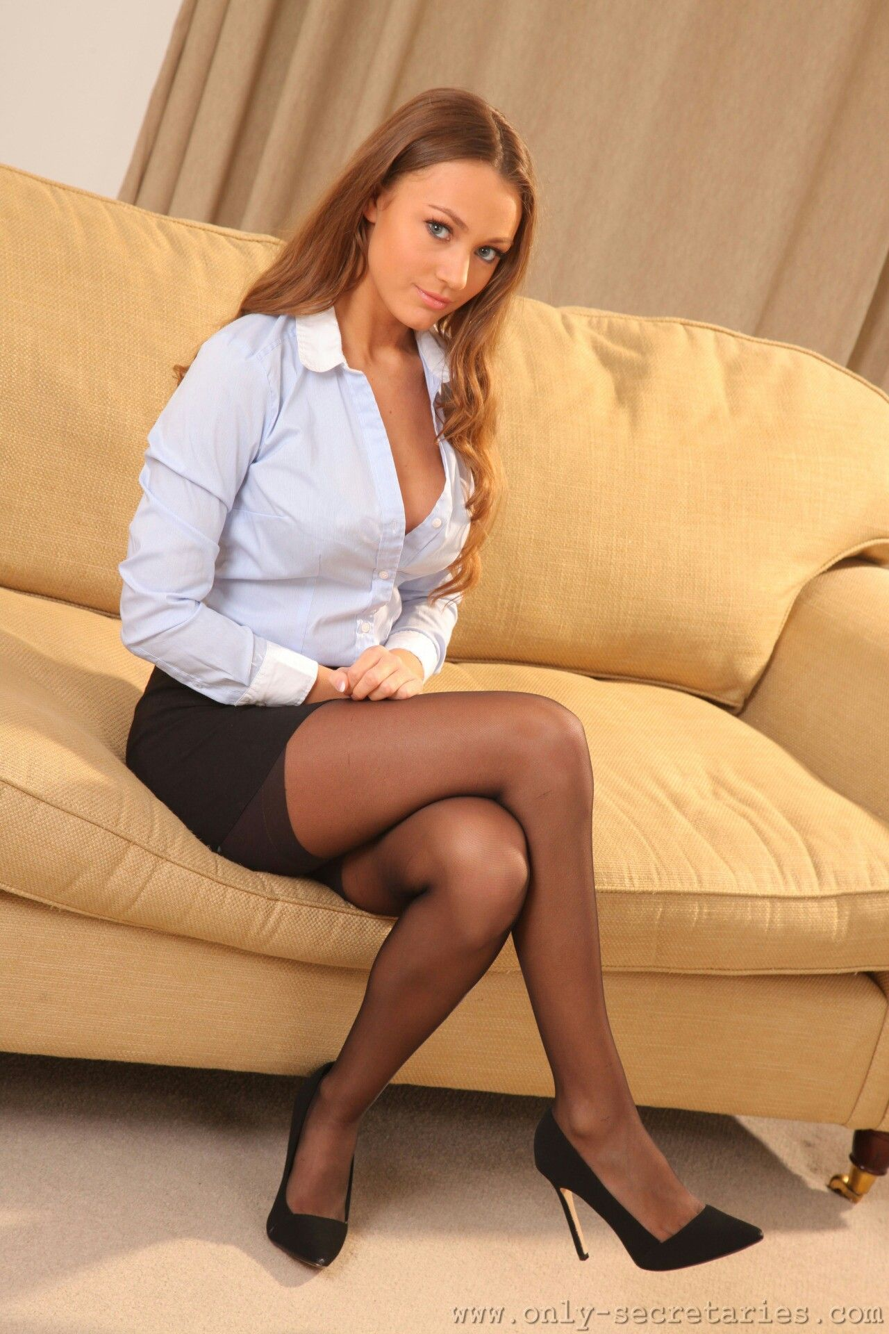 Black stockings legs secretary