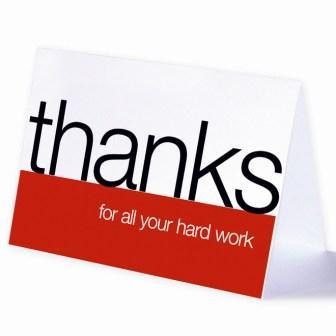 Thank you for all your hard work