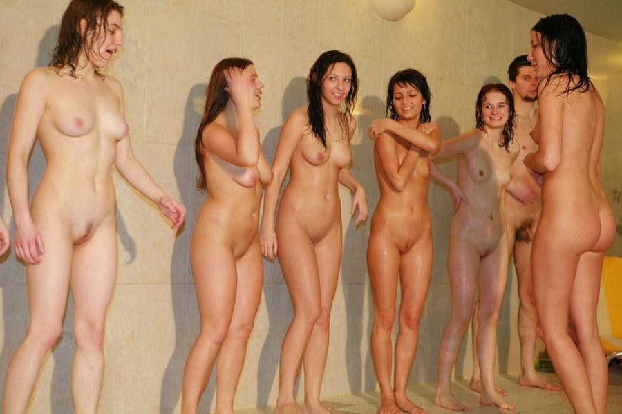 Nude girls locker room showers