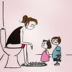 Mom sitting on toilet