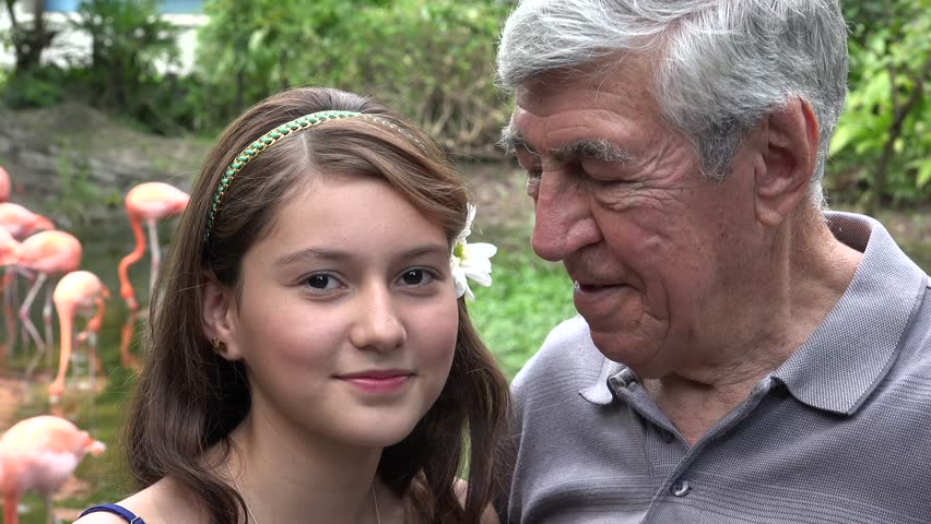 Teen old man young girl outdoors