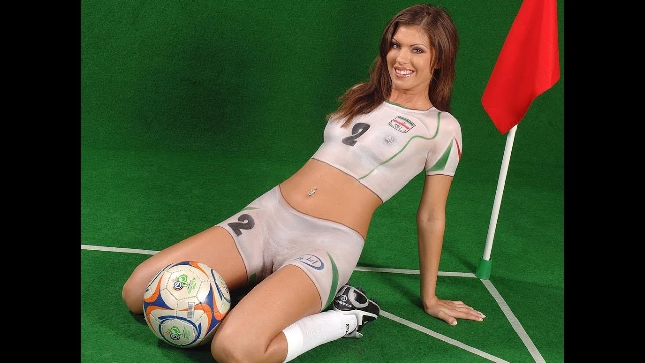 Nude body painting soccer girl