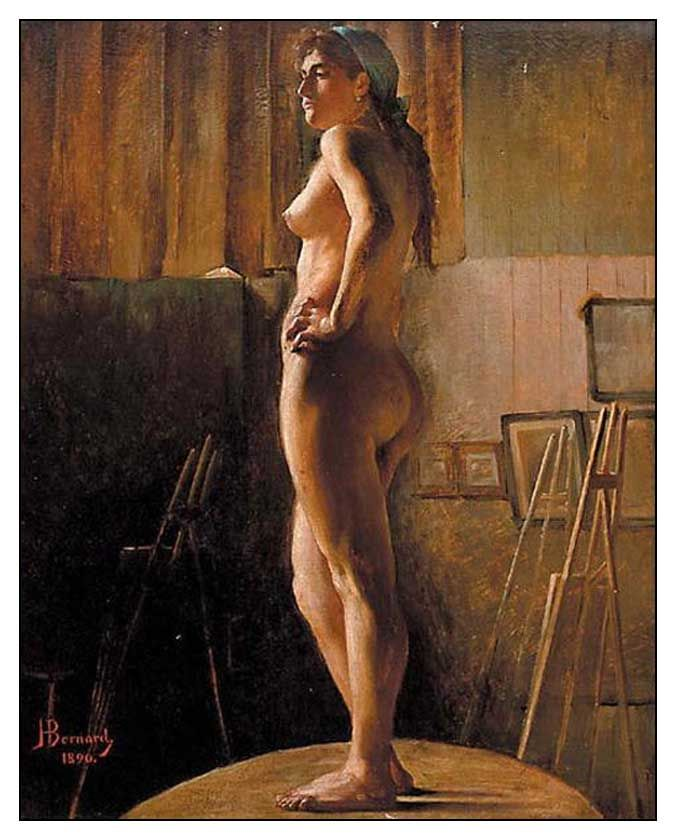 Nude art model painting