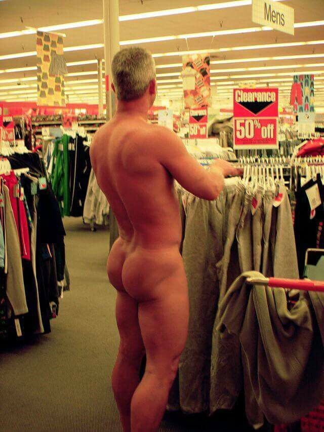 Caught naked in public store
