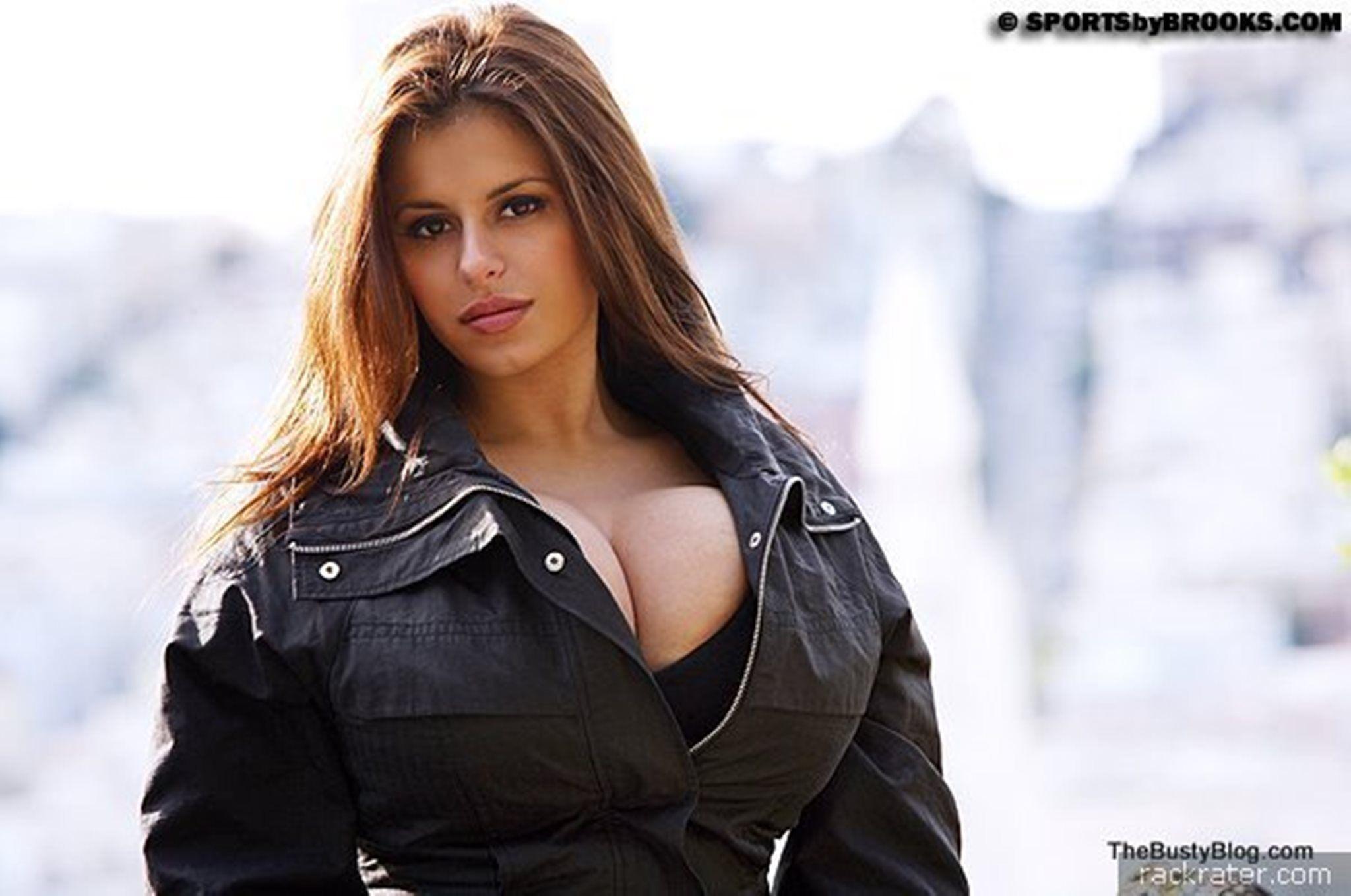 Sexy big boobs leather jacket