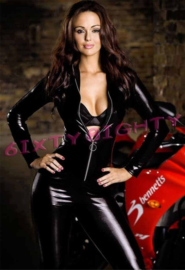 leather girl in Sexy pictures black suit