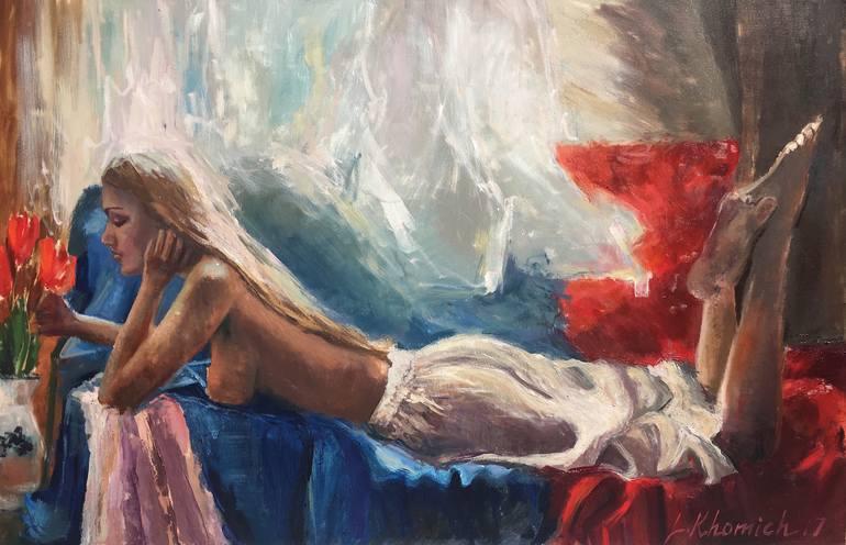 Nude art model painting